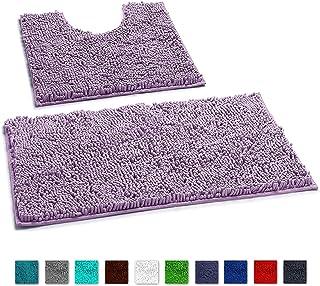 LuxUrux Bathroom Rugs Luxury Chenille 2-Piece Bath Mat Set, Soft Plush Anti-Slip Bath Rug +Toilet Mat.1'' Microfiber Shaggy Carpet, Super Absorbent (Curved Set, Lavender)