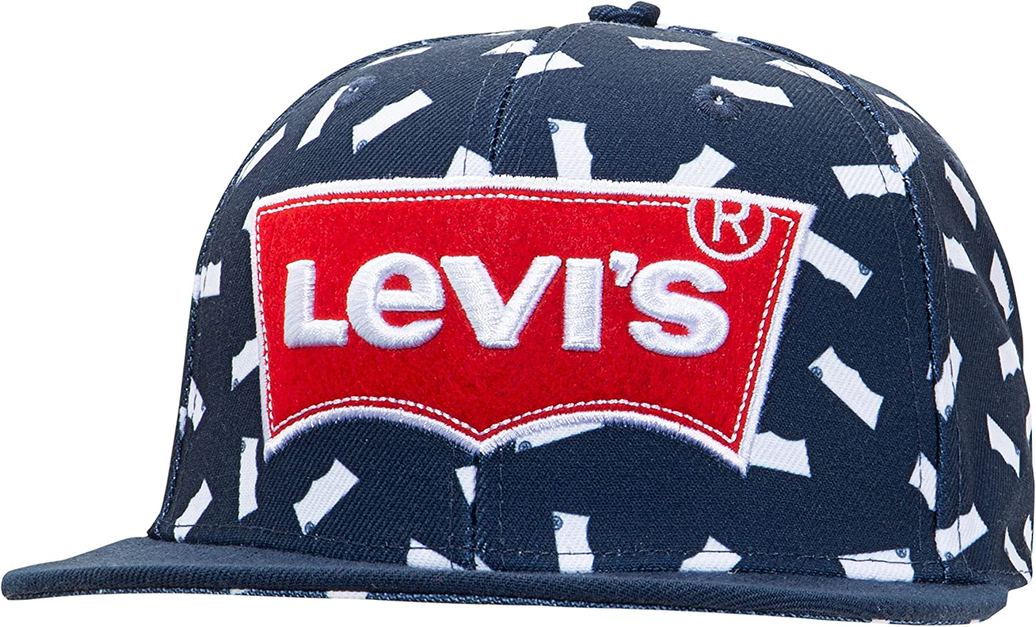 """BLACK /& RED ONE SIZE NEW LEVI`EMBROIDERED /""""BATWING/"""" SNAP BACK BASEBALL CAP HAT"""