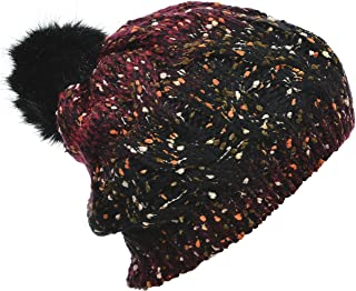Hand By Hand Aprileo Knitted Beanie Fleece Lined Faux Fur Pompom Hat Warmth