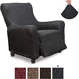 Recliner Cover - Recliner Chair Cover - Recliner Slipcover - Cotton Fabric Slipcover - 1-piece Form Fit Stretch Stylish Furniture Protector - Mille Righe Collection - Dark Grey (Recliner)