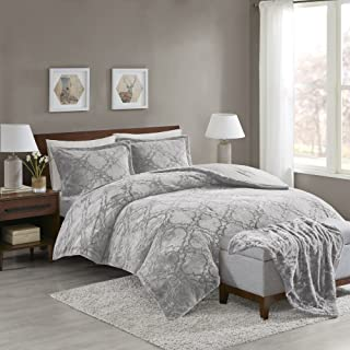 Comfort Spaces Odessa Long Fur 4 Piece Comforter and Throw Combo Set, Ultra Soft Snuggle Warm Ogee Pattern Bedding, Full/Queen, Grey