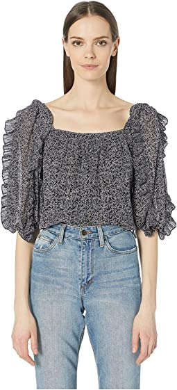 Block Vine Print Square Neck Top