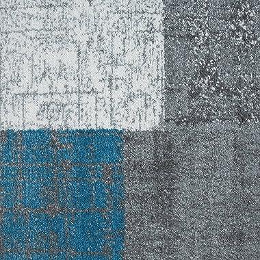VIMODA Tapis à Poils Ras en Turquoise Bleu Gris et Blanc Salon Tapis Modernes Kachel-Optik Facile à Entretenir - Turquois, 20