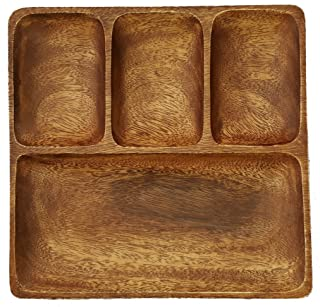 SDS HOME IMPORTS Acacia Wood Handcrafted Food Square Tray Plate with 4 Sections, 11