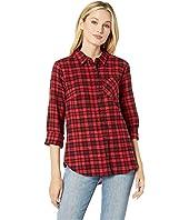 Long Sleeve One-Pocket High-Low Flannel Plaid Shirt