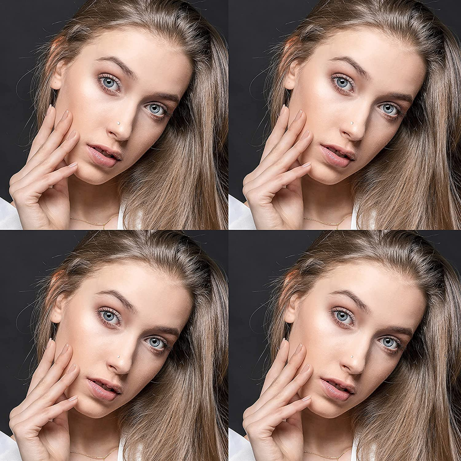 samsen Stainless Steel Nose Piercing Set with 1PCS 16G 5 Round Opal Nose Ring and 8 PCS L Shape Nose Studs