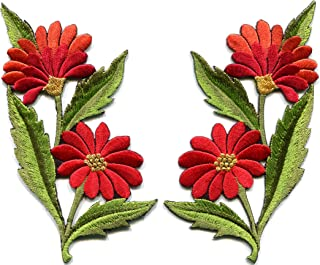 Red orange daisies pair flowers floral bouquet boho embroidered appliques iron-on patches new
