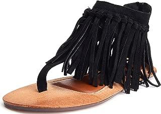 Best black fringe thong sandals Reviews