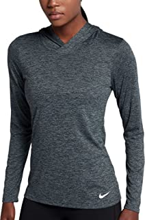 Nike Women's Long Sleeve Legend Dry Pullover Training Top -Heathered Black (Small)