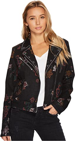 Moto Jacket w/ Studs in Print on Noir