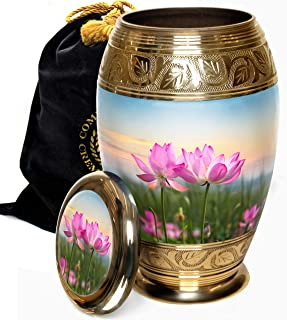 Lotus Tranquility Cremation Urns for Ashes, Cremation Urns for Adult Ashes, Cremation Urns for Human Ashes Adult 200 Cubic Inches Large/Adult (Lotus Tranquility, Adult/Large)