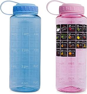 BellyBottle Pregnancy Water Bottle [2019 Update] BPA-Free, Intake Time Tracker, Week by Week Stickers - Voted Pregnancy Gifts Must Haves Essentials (Blue)