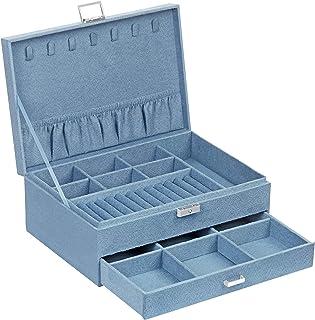SONGMICS Boîte à Bijoux, Coffre à Bijoux, Présentoir, à 2 Niveaux, avec 1 tiroir et 1 clé, pour bagues, Montres, Colliers,...