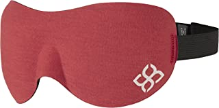 Sleep Mask by Bedtime Bliss - Contoured & Comfortable With Moldex Ear Plug Set. Includes Carry Pouch for Eye Mask and Ear Plugs - Great for Travel, Shift Work & Meditation (Red)