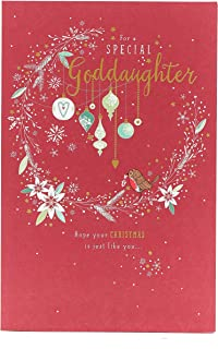 Goddaughter Baubles Christmas Greeting Card