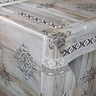 KEVKUS Nappe en toile cirée - Largeur : 160 cm - P8010-1 - Panneaux en bois - Aspect usé au choix - Rectangulaire et ronde...