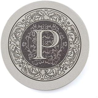 Thirstystone Absorbent Monogram Sandstone Coaster Set, Letter P