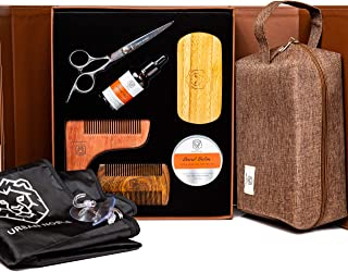 Beard Grooming Kit for Men Gift Set- Beard Oil Growth & Organic Balm For Man - Sandalwood Beard Comb