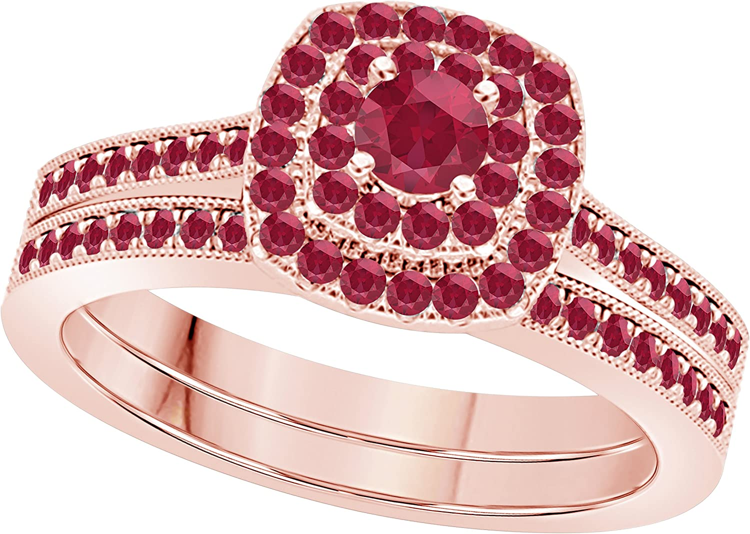 Silver Gems Factory 1.00 Ct Round trust Cut Seattle Mall Ruby Cz Rose Red Gold 14k
