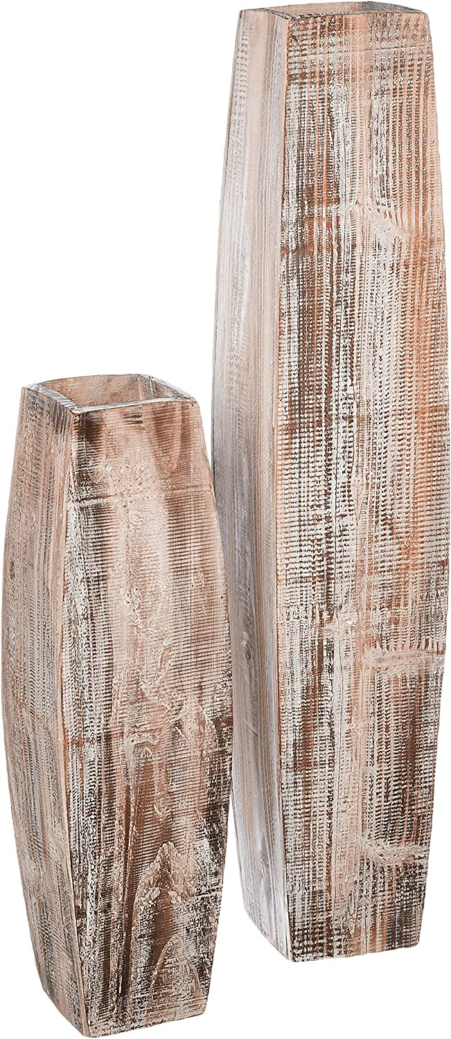 KALALOU Set price of White Washed Tall Cheap Large Oblong Vases Wooden Sm