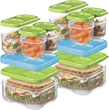 Rubbermaid LunchBlox Sandwich and Meal Prep, 2 Pack Set   Stackable & Microwave Safe Lunch Containers   Assorted Colors, G...