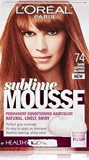 L'Oreal Paris Sublime Mousse by Healthy Look Hair Color, 74 Dark Copper Blonde