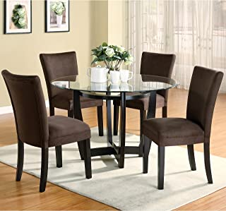 A Line Furniture Mirage Round Glass Top Table/Chocolate Microfiber Parson Chairs 5-Piece Dining Set