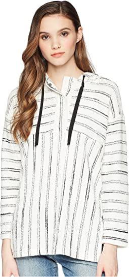 TWO by Vince Camuto Long Sleeve Nubby Stripe Hoodie