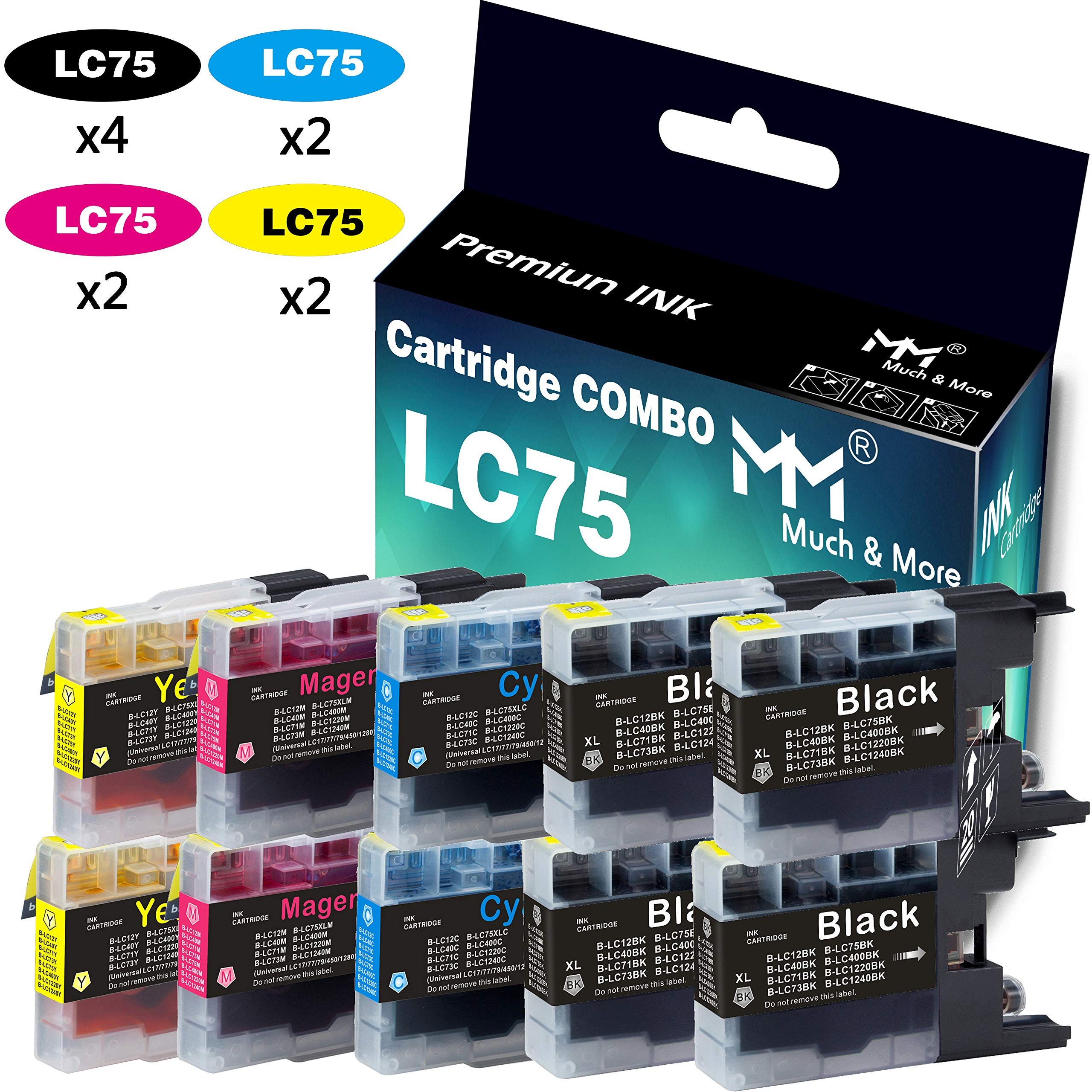 ESTON 6 Pack Replacements for Brother LC75XL Black LC75BK High Yield Fit for Brother MFC-J280W MFC-J6510DW