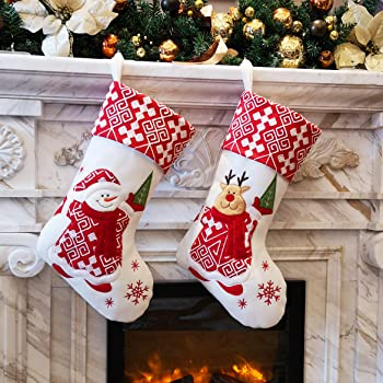 Snowflakes Craft Socks Decorations SANNO 18 Christmas Stockings,Hanging Burlap Decorations Christmas Stocking with Red Poinsettia Flower Design