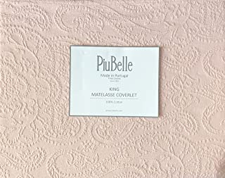 Piu Belle Portugal Solid Light Salmon Pink Matelasse Bedspead Coverlet with a Textured Woven Paisley Pattern (King)