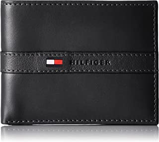 61e5ad41f91 Tommy Hilfiger Men's Thin Sleek Casual Bifold Wallet with 6 Credit Card  Pockets and Removable Id