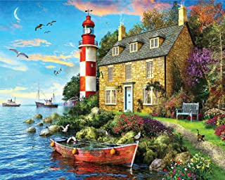 Springbok Puzzles - The Cottage Lighthouse - 1000 Piece Jigsaw Puzzle - Large 30 by 24 inch Puzzle - Made in USA - Unique ...