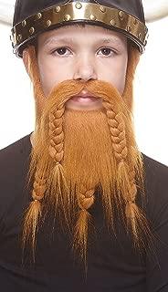 Mustaches Fake Beard, Self Adhesive, Novelty, Small Viking Dwarf False Facial Hair, Costume Accessory for Kids