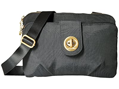 Baggallini International Toronto Double Zip Crossbody (Charcoal) Cross Body Handbags