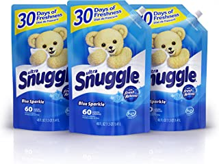 Snuggle Liquid Fabric Softener Easy-Pouch, Blue Sparkle, 48 Oz, 3Count, 180 Total Loads