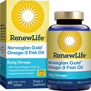 Renew Life Norwegian Gold Adult Fish Oil - Daily Omega, Fish Oil Omega-3 Supplement - Gluten & Dairy Free - 60 Burp-Free S...
