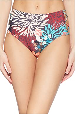Lagoon Floral Strappy Side High-Waist Bikini Bottom