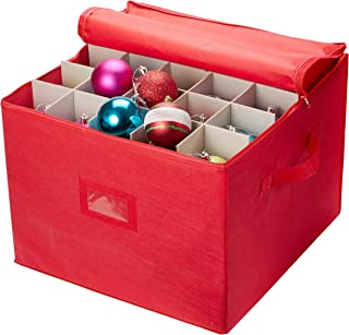 Christmas Ornament Storage - Stores up to 75 Holiday Ornaments, Adjustable Dividers, Zippered Closure with Two Handles. Attractive Storage Box Keeps Holiday Decorations Clean and Dry for Next Season.