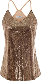 Women's Sleeveless Sparkle Shimmer Camisole Vest Sequin Tank Tops