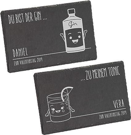 Preisvergleich für LAUBLUST Schieferplatten 2er Set Gin & Tonic Motiv - Personalisiert mit Individueller Wunsch-Gravur - 24x15cm, Grau | Stein-Platten als Geschenkidee | Deko-Brettchen | Platzset | Servier-Platten