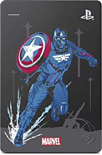 Seagate Game Drive for PS4 Marvel's Avengers LE - Captain America 2TB External Hard Drive - USB 3.0, Metallic Grey, Offic...