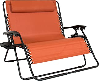 Best Choice Products 2-Person Double Wide Folding Zero Gravity Chair Patio Lounger w/Cup Holders -Orange