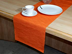 Home Colors Cotton Ribbed Runner for Teapoy, TV Table, Coffee Table, Center Table, Dinning Table - 14 x 52 Inch - Orange