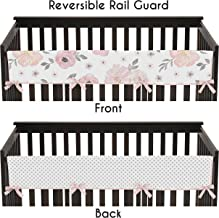 Sweet Jojo Designs Blush Pink, Grey and White Long Front Crib Rail Guard Baby Teething Cover Protector Wrap for Watercolor Floral Collection