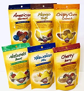 Germack Pistachio Company, Snack Nut Mix Favorites Variety Bundle, Cherry Berry, American Harvest, Mango Tango, Hawaiian Mix, Nature's Best, Crispy Corn Crunch - 6 Resealable Bags, 3.5 ounces each