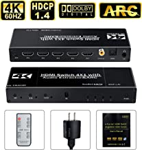 avedio links HDMI Switch with Optica/Coaxial/3.5mm Audio Out, 4 Port 4 x 1 Switcher Selector with IR Wireless Remote Control, 4K@60Hz, HDMI2.0 HDCP 1.4, Support DTS-HD/Dolby-TrueHD/DTS/Dolby-AC3/ DSD