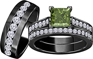 Jewelryhub 3.00 Carat Synthetic Green Tourmaline Princess Cut & Round CZ Diamond 14k Black Gold Over Silver Engagement His & Her Wedding Engagement Trio Ring Set In Express Shipping