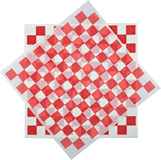 Deli Squares - Wax Paper Sheets (12 x 12) (Pack of 100) (Checkered Red)