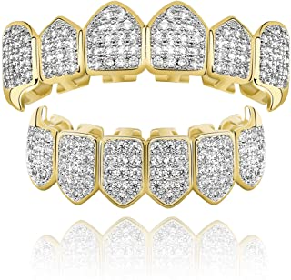 TOPGRILLZ Diamond Grills 18K Gold Plated Fully Iced Out CZ Vampire Top and Bottom Face..